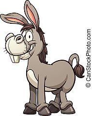 Cartoon donkey Vector clip art illustration with simple...