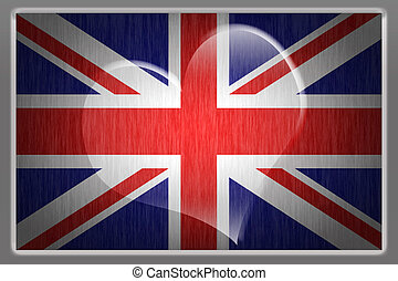 Union jack flag with a heart - flag of Britain with a large...
