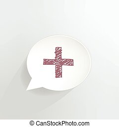 Red Cross - Red cross speech bubble.