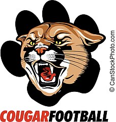 cougar football design with mascot head inside paw print