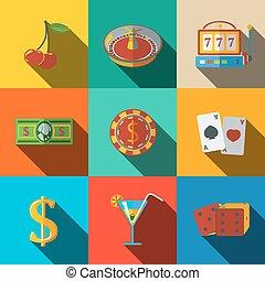 Casino, gambling modern flat icons set - dice, poker cards,...