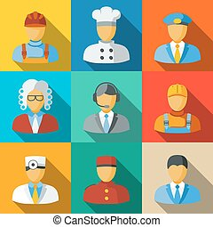 Flat icons with people faces of different professions -...