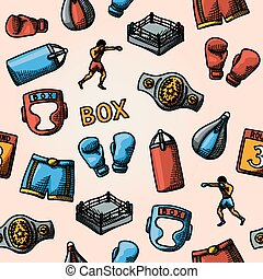 Boxing hand drawn color pattern - gloves, shorts, helmet,...
