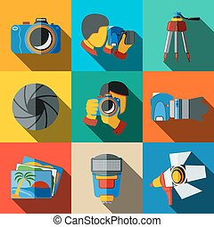 Photographer colorful flat icons set on bright squares, with...