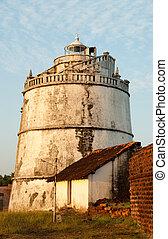 Goa - The lighthouse at Fort Aguada in Goa, India