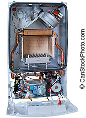 New gas boiler without front cover - Internal view of the...