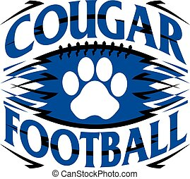 cougar football design with paw print inside graphic...