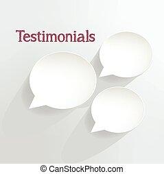 Testimonials speech bubbles.