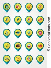 School flat mapping pin icon set