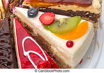 Pieces of the cake with fresh fruit