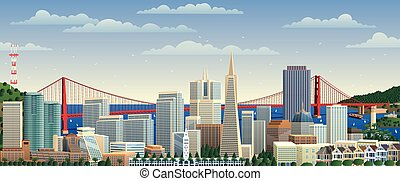 San Francisco cityscape. No transparency used. Basic...