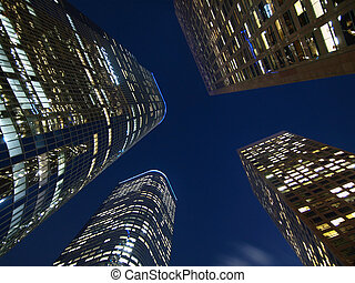 LA Towers Night - Downtown Los Angeles highrise towers at...