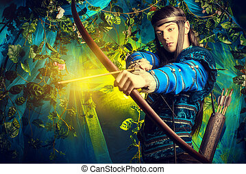 elf prince - Portrait of a male elf with a bow and arrows in...