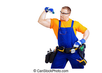 good worker - Portrait of an industrial worker posing with...
