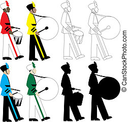 Drummers - 8 different types of drummers vector Illustration...