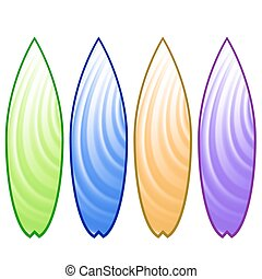 Surfboards - Set of Colorful Surfboards Isolated on White...