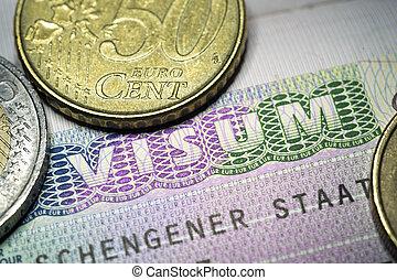 Schengen Visa - fragment of European Union Schengen Visa...