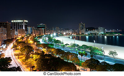 Night View of Botafogo Beach and Guanabara Bay in Rio de...