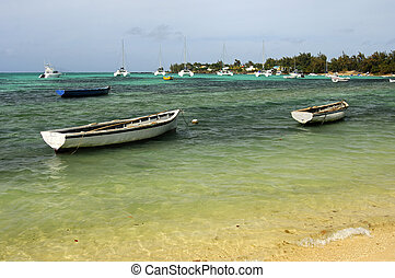 Anchorage of boats off the coast of Mauritius