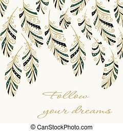 Feather - Greeting card with hand drawn abstract feathers.