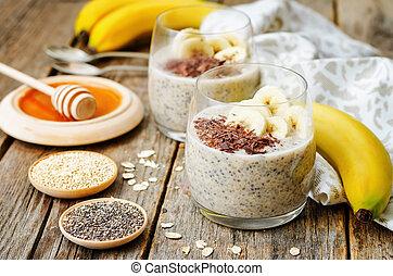 overnight banana oats quinoa Chia seed pudding decorated...