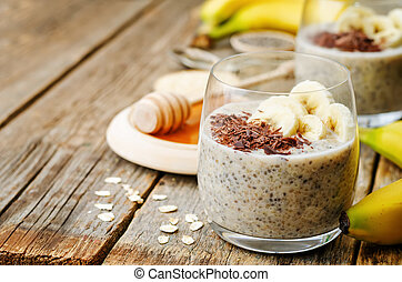 overnight banana oats quinoa Chia seed pudding decorated...