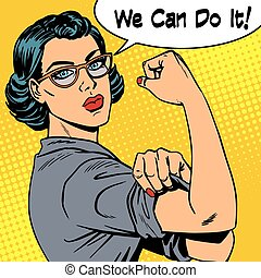 Woman with glasses we can do it the power of feminism. Retro...