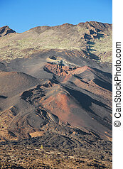 Pico Viejo crater, volcanic landscape in El teide National...