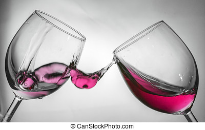 Wine glass fluid motion - Fluid motion of coloured water in...