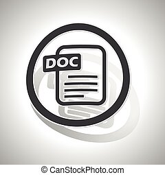 DOC document sign sticker, curved, with outlining and shadow