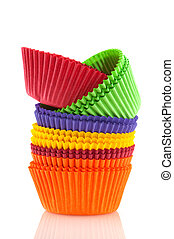 Baking cup cakes - colorful papers for baking cup cakes...