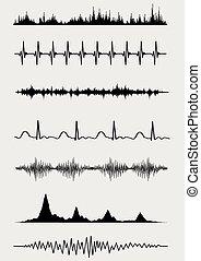 wykresy_czarne_na_szarym_tleeps - Sound waves set Vector...
