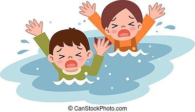 Children drown - Vector illustration