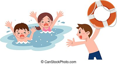 Man to rescue the children who drow - Vector illustration.