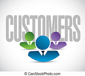 customers team sign illustration design graphic over white