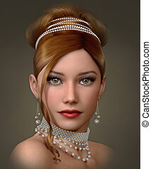 Beauty with Pearls, 3d CG - 3d computer graphics of a...