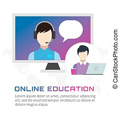 Online education vector icons. Webinar, school