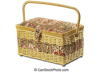 Sewing box - Sewing fabric wicker box isolated over white...