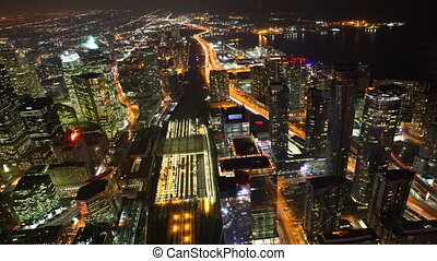 Timelapse aerial of traffic,Toronto - A timelapse aerial of...