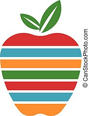 Apple with colored stripes logo