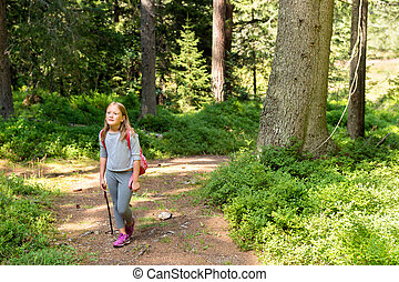 Little hiker girl in forest. Photo from Champex-Lac, Valais,...
