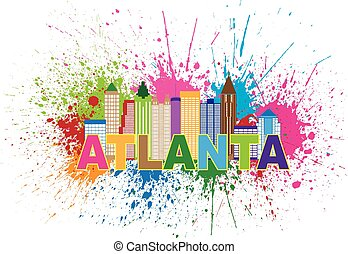 Atlanta Skyline Paint Splatter Colorful Text Illustration -...
