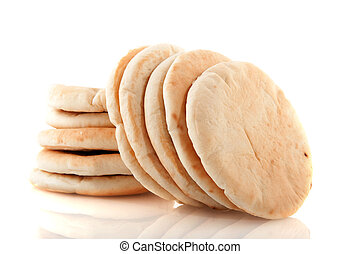 Pita flat bread stacked and isolated over white