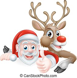 Santa and Reindeer Sign - Cartoon Santa and reindeer peeking...
