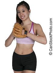 Woman Baseball Player - Beautiful woman baseball pitcher...
