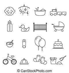 baby icons set vector design
