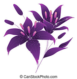 purple flower - illustration drawing of beautiful flower...