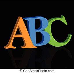 ABC letters on black - ABC letters on white background 3D