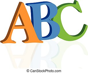 ABC letters on white background 3D