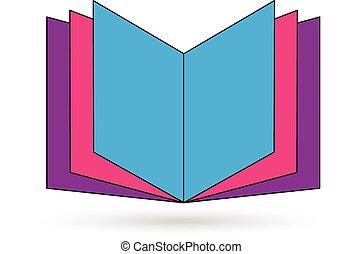 Open colored book icon vector logo